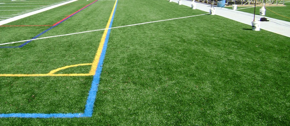 Game lines on A-Turf field at Red Lion High School in PA