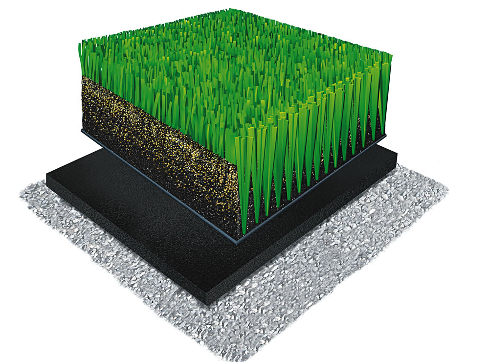 A-Turf Mono 3D rendering with rubber & sand infill and ShockPad underneath.