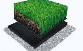 A-Turf Titan 3D rendering with rubber & sand infill and ShockPad underneath.