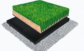 A-Turf Titan SS 3D rendering with sand infill and ShockPad underneath.