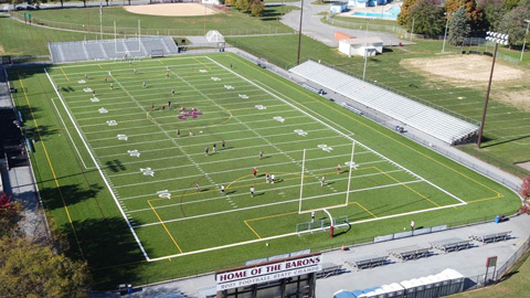 Aerial photo of replacement field in 2020