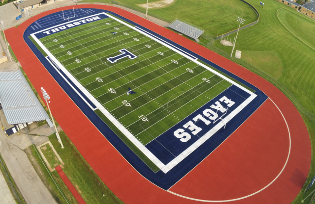 Aerial view of the turf field at Lee M. Thurston High School